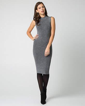 Le Château Lurex Knit Mock Neck Midi Dress