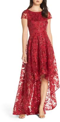 Eliza J Embroidered Embellished High/Low Gown