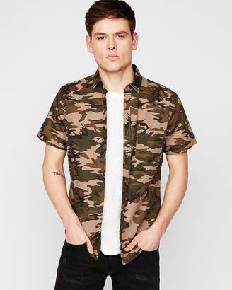 Express Slim Camo Short Sleeve Button-Down Shirt