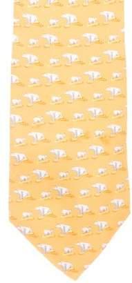 Versace Polar Bear Print Silk Tie