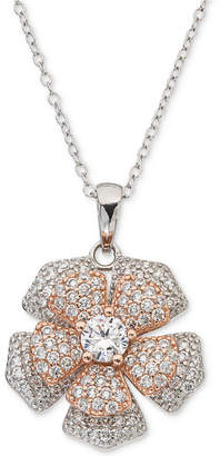 "Giani Bernini Cubic Zirconia Pave Spin Flower 18"" Pendant Necklace in Sterling Silver & 18k Rose Gold-Plate, Created for Macy's"
