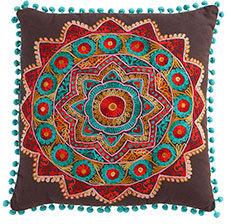 Pom-Pom Accent Pillow - Brown with Blue Pom-Poms