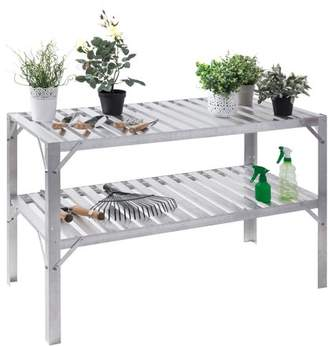 Costway Aluminum Workbench Greenhouse Prepare Work Potting Table Storage Garage Shelves