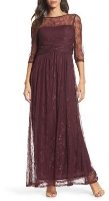 Ellen Tracy Pleat Waist Lace Gown