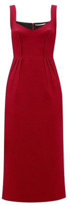Emilia Wickstead Juditella Darted Wool Pencil Dress - Womens - Dark Red