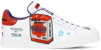 Dolce & Gabbana 20mm Graffiti & Patches Leather Sneakers