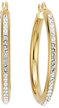 FINE JEWELRY Gold Opulence 14KGold Over Diamond Resin Round Crystal Hoop Earrings