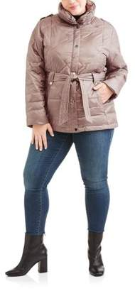 Big Chill Womens Plus-Size Belted Puffer Jacket Coat