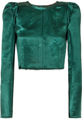 Ann Demeulemeester Cropped Frayed Cotton-blend Satin Top - Green