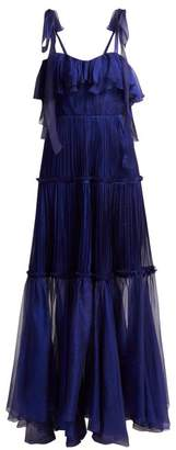 Maria Lucia Hohan Norah Bustier Silk Dress - Womens - Blue