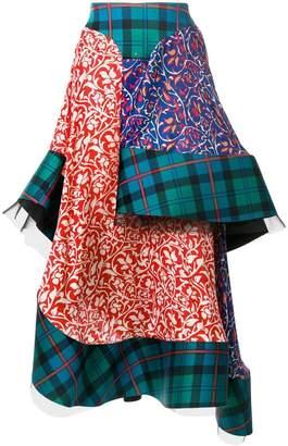 Esteban Cortazar tartan layered skirt