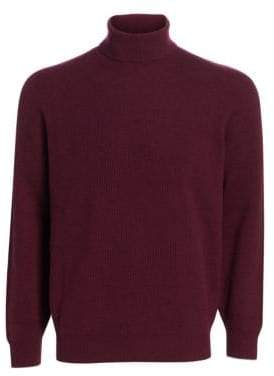 Brunello Cucinelli Rib-Knit Wool, Silk& Cashmere Turtleneck Sweater