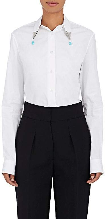 CALVIN KLEIN 205W39NYC Women's Cotton Poplin Embellished-Collar Shirt