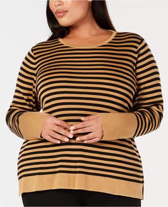 Eileen Fisher Plus Size Tencel Striped Top