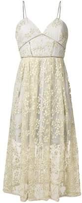 Self-Portrait floral embroidered mesh midi dress