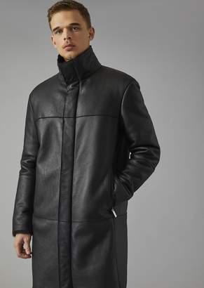 Giorgio Armani Sheepskin Coat In Spanish Lambskin With Vegetable Tanned Leather Details