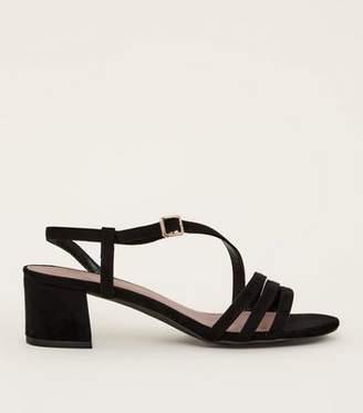 28041e166ef0 New Look Wide Fit Black Suedette Asymmetric Strap Block Heels