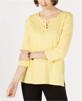 Charter Club 3/4-Sleeve Lace-Up Top