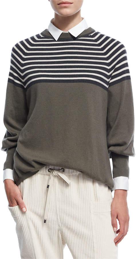 Brunello Cucinelli Striped 2-Ply Cashmere Crewneck Top