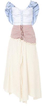 Rosie Assoulin Batten Down The Hatches Mixed Stripe Cotton Dress