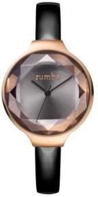 RumbaTime Orchard Gem Black Diamond Patent Leather Women's Watch