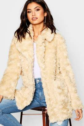 boohoo Textured Collared Faux Fur Coat