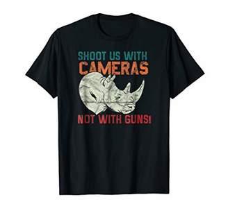 Animal Prints Rhino- Shoot Us With Camera Tshirt