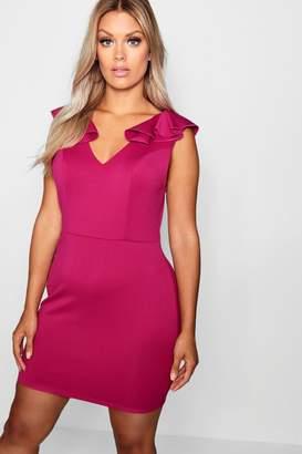 boohoo Plus Ruffle Shoulder Plunge Shift Dress