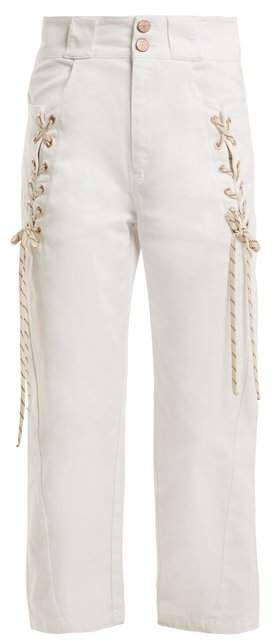 Lace-up cropped denim jeans