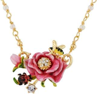Les Nereides Balad In Versailles Pink Flower Necklace - Pink