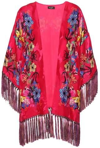 Floral jacquard kimono jacket