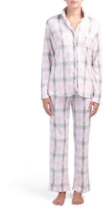 Notch Collar Long Sleeve And Pants Set
