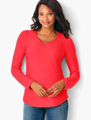 Talbots Link-Stitched V-Neck Sweater - Solid