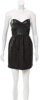 Tibi Leather Paneled Strapless Dress