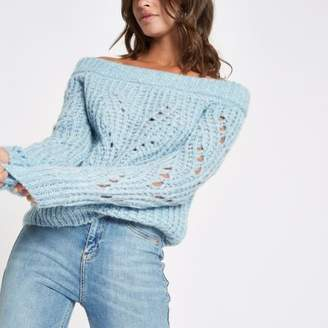 River Island Blue knit bardot sweater