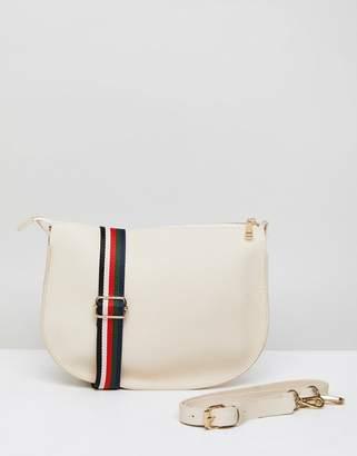 London Rebel Saddle Bag With Striped Multi Coloured Strap