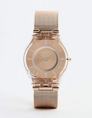 Swatch SFP115M Core 6 Mesh Watch In Rose Gold 34MM