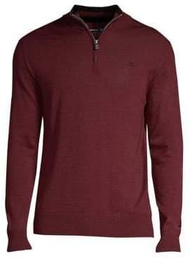 J. Lindeberg Men's Active Kian Merino Zip Pullover - Dark Mahogany - Size Large