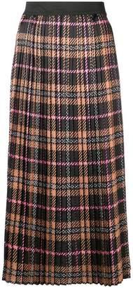 Liu Jo pleated macro tartan skirt