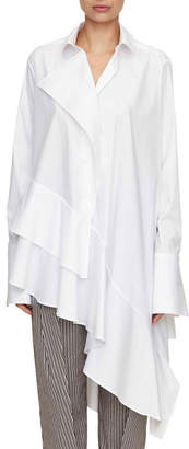 Palmer Harding Palmer//Harding Spicy Long-Sleeve Asymmetric Ruffled Cotton Shirt