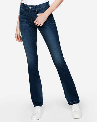 Express Mid Rise Raw Hem Denim Perfect Barely Boot Jeans