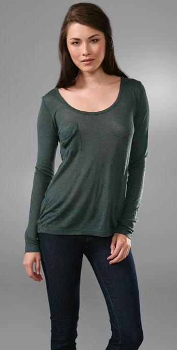Patterson J. Kincaid Paris Slouch Pocket Tee with Long Sleeves