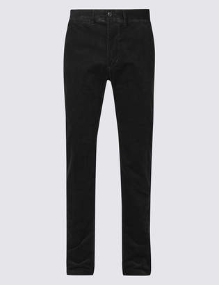 Blue HarbourMarks and Spencer Straight Fit Corduroy Trousers with Stretch