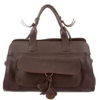 Anya Hindmarch Mink Accented Leather Handle Bag