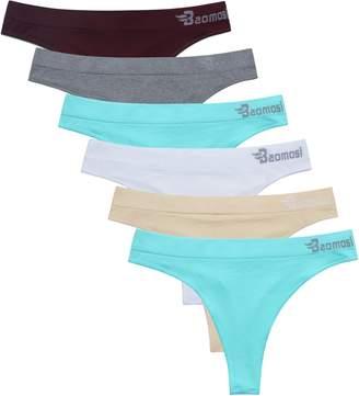 876934f2eeb BAOMOSI 6Pack Women s Seamless Thong Panties Sexy Breathable Bikini Panty  Nylon Spandex Thong Underwear Grey