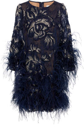 Marchesa Embroidered Gardenia Lace Cocktail Dress With Ostrich Feathers