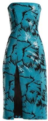 Halpern Sequined Bustier Midi Dress - Womens - Blue