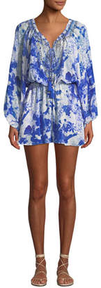 Camilla Blouson-Sleeve Printed Silk Embellished Romper