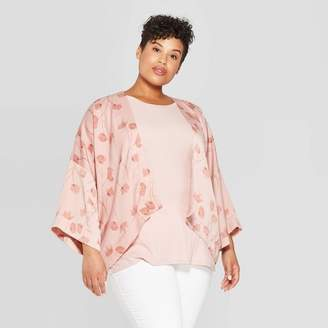 A New Day Women's Plus Size Floral Double Layer Cropped Kimono Pink