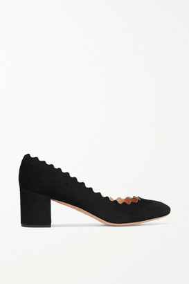 Chloé Scalloped Suede Pumps - Black